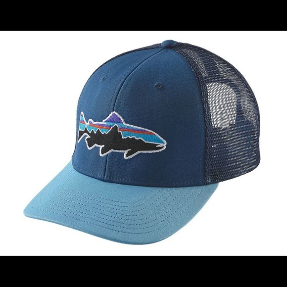 ced2cda7342 Mens Patagonia Fitz Roy trout trucker hat blue